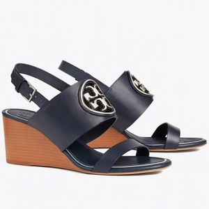 NWT Tory Burch Miller metal logo wedge sandal